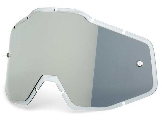 100% Mirror Anti-Fog F. Injected Lenses Racecraft/Accuri/Strata Silver Flash Mirror/Clear An